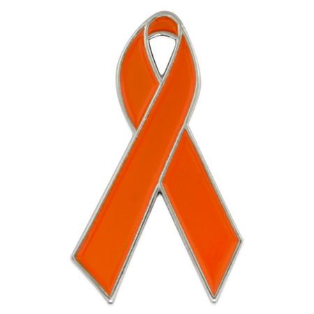 Orange Ribbon Pin Front