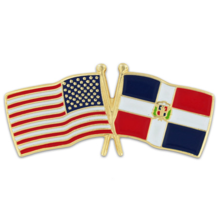 USA and Dominican Republic Flag Pin Front