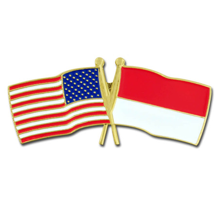 USA and Indonesia Flag Pin Front