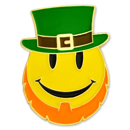 Leprechaun Smiley Face Pin Front