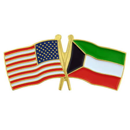 USA and Kuwait Flag Pin Front