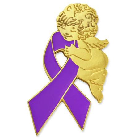 Purple Ribbon Angel Pin Front