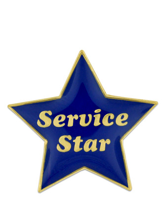 Service Star Pin - Blue and Gold Front