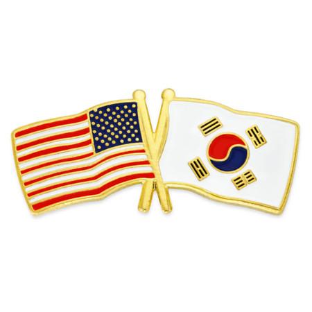 USA and South Korea Flag Pin Front