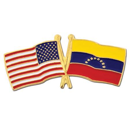 USA and Venezuela Flag Pin Front