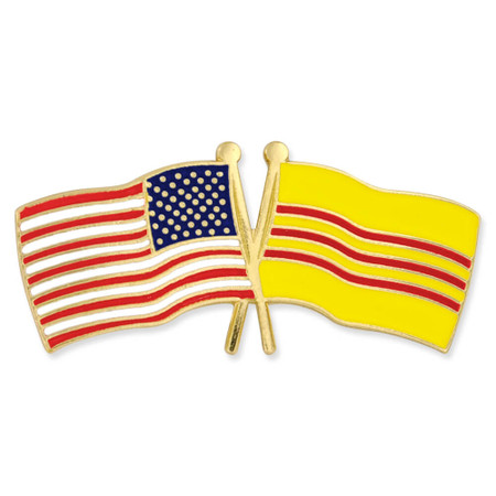 USA and South Vietnam Flag Pin Front
