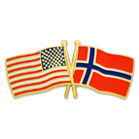 USA and Norway Flag Pin Front