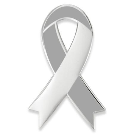 Awareness Ribbon-Grey Engravable Pin Front