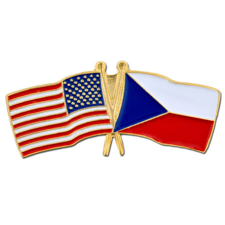 USA and Czech Flag Pin Front