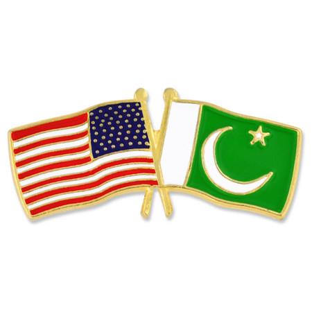 USA and Pakistan Flag Pin Front