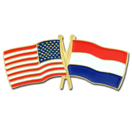 USA and Netherlands Flag Pin Front