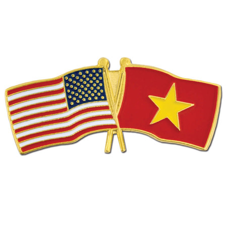 USA and Vietnam Flag Pin Front
