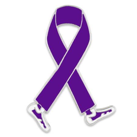 Walking Purple Ribbon Pin Front