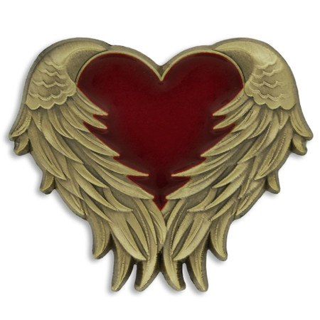 Heart with Angel Wings Pin - Antique Gold Front