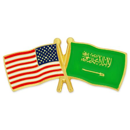 USA and Saudi Arabia Flag Pin Front