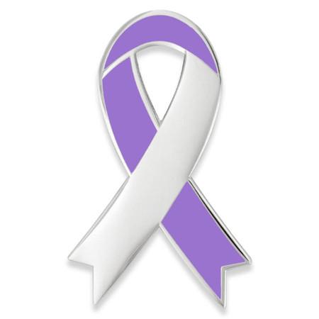 Awareness Ribbon-Lavender Engravable Pin Front