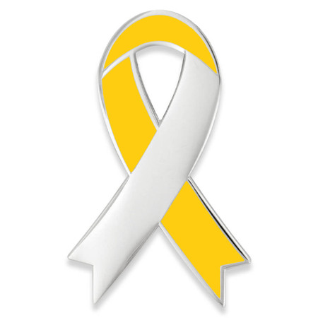 Awareness Ribbon-Yellow Engravable Pin Front