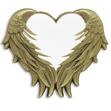 White Heart With Wings Pin Front