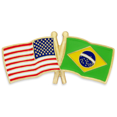 USA and Brazil Flag Pin