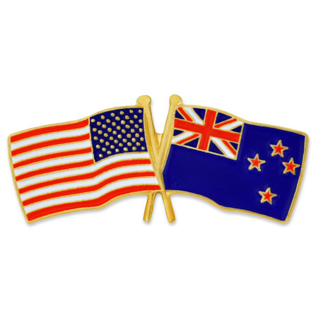 USA and New Zealand Flag Pin Front