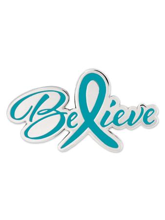 Believe Teal  Awareness Pin Front