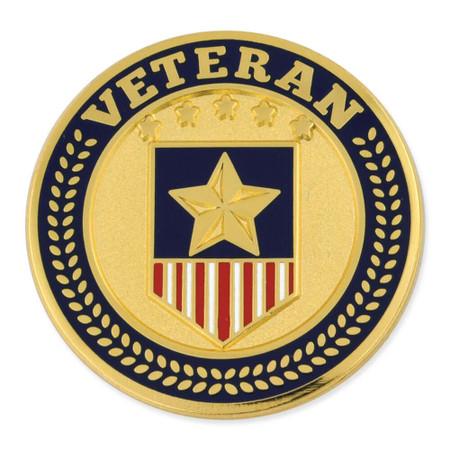 Veteran Shield Circle Pin Front