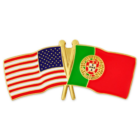 USA and Portugal Flag Pin Front