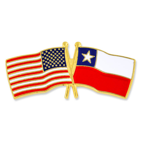 USA and Chile Flag Pin Front