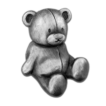 Teddy Bear Pin - Antique Silver Front