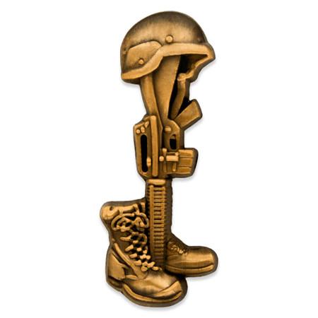 Battle Cross Final Tribute Pin - Antique Gold