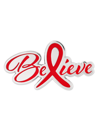 Believe Red Awareness Pin Front