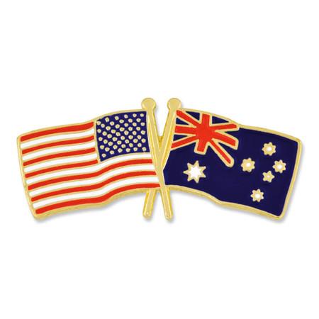 USA and Australia Flag Pin Front