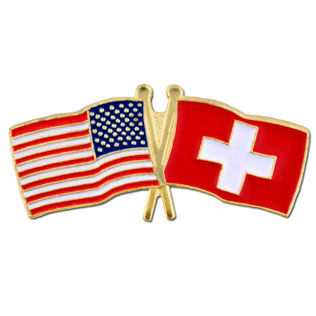 USA and Switzerland Flag Pin Front