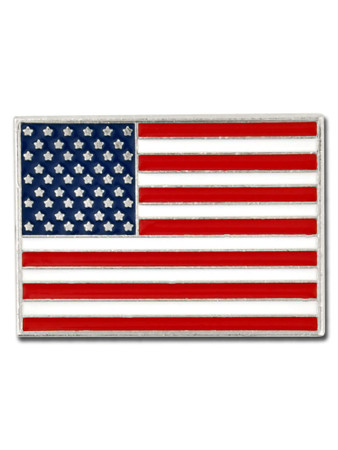 Rectangle American Flag Silver Pin - Made in the U.S.A. Front