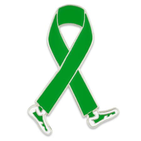 Walking Green Ribbon Pin Front