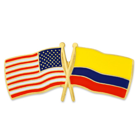 USA and Colombia Flag Pin Front