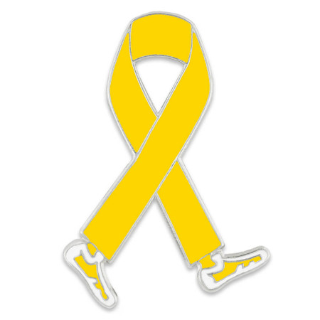 Walking Yellow Ribbon Pin Front
