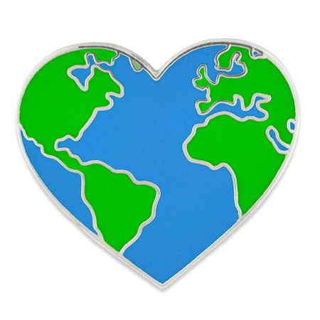 Heart Shaped Earth Pin Front