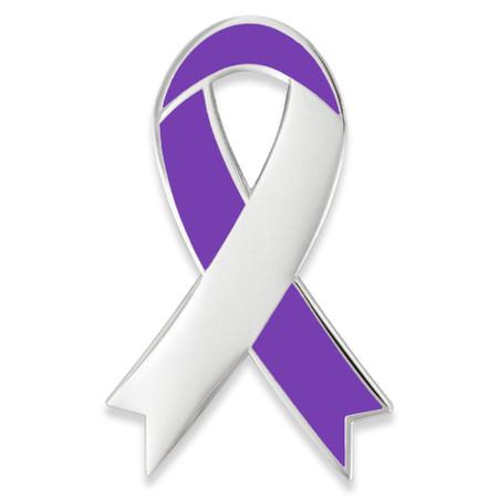 Awareness Ribbon-Purple Engravable Pin Front