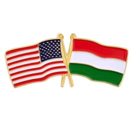 USA and Hungary Flag Pin Front