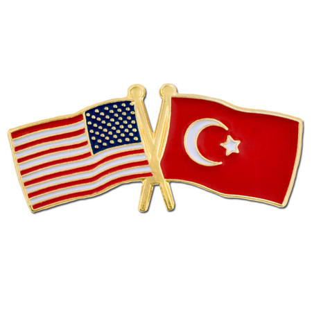 USA and Turkey Flag Pin Front