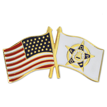 Police and American Flag Pin Front