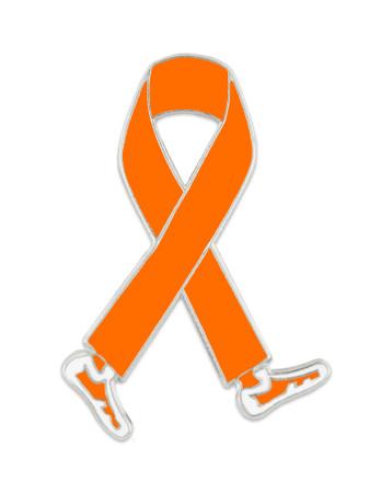 Walking Orange Ribbon Pin Front