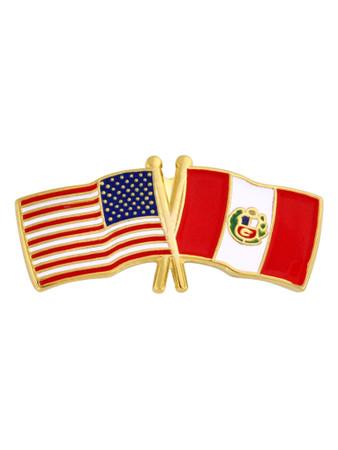 USA and Peru Flag Pin Front