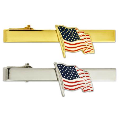 Waving American Flag Tie Clip Engravable Front