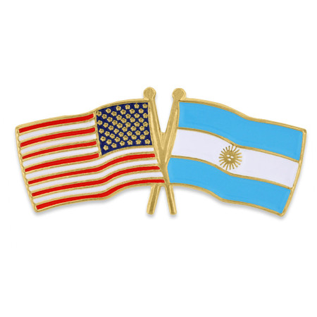 USA and Argentina Flag Pin Front