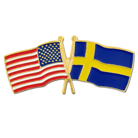 USA and Sweden Flag Pin Front