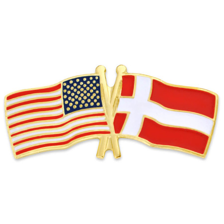 USA and Denmark Flag Pin Front