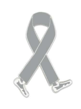 Walking Grey Ribbon Pin Front