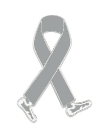 Walking Grey Ribbon Pin Front